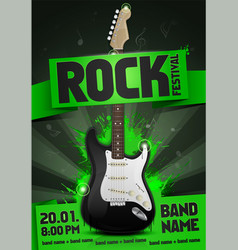 rock festival concert party poster with guitar vector image