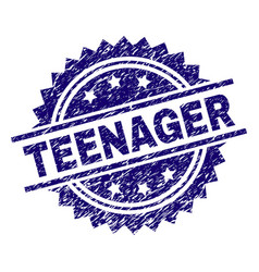 Scratched textured teenager stamp seal vector