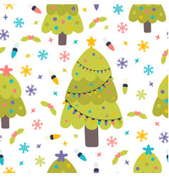 seamless pattern with christmas trees snowflakes vector image