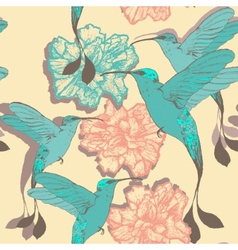 Seamless pattern with colibri birds and flowers vector image