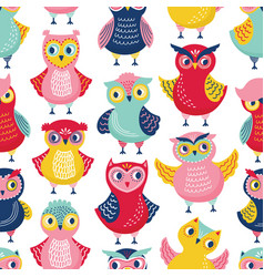 Seamless pattern with cute funny owls or owlets vector