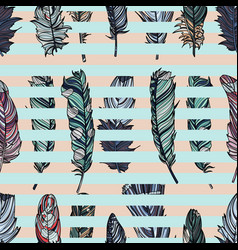seamless pattern with feathers and stripes vector image