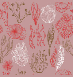 Seamless pattern with hand drawn corals sea vector