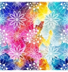 Seamless pattern with snowflakes on colorful vector