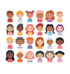 set avatars children characters kids vector image