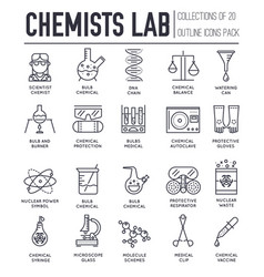 set chemical and medical laboratory thin line vector image