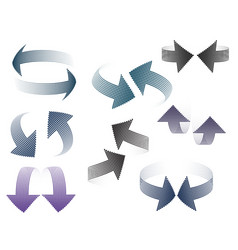 set of 3d pairs of arrows halfton distorted in vector image