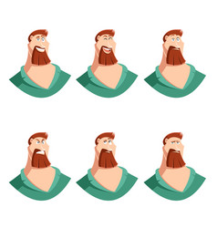 Set of beard man face icons vector