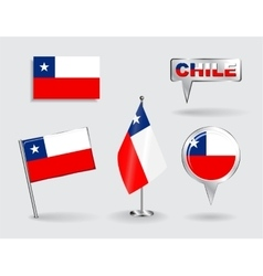 Set of Chilean pin icon and map pointer flags vector image