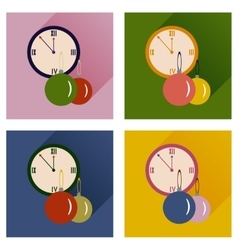 Set of flat icons with shadow clock and Christmas vector