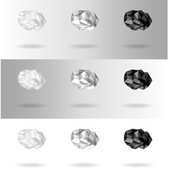 set of low poly clouds of different intensity vector image