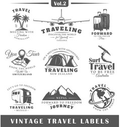Set of vintage travel labels vector