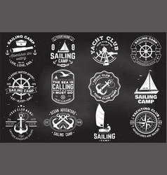 set sailing camp and yacht club badge vector image