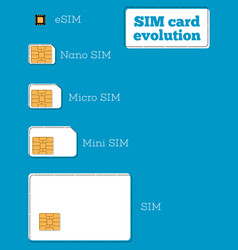 sim card evolution concept in flat style vector image
