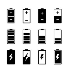 simple batteries icon set vector image