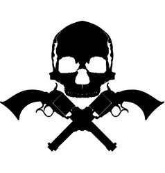 skull two revolvers vector image