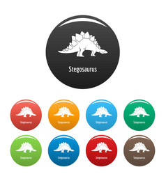 stegosaurus icons set color vector image