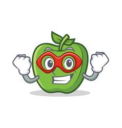 Super hero green apple character cartoon vector