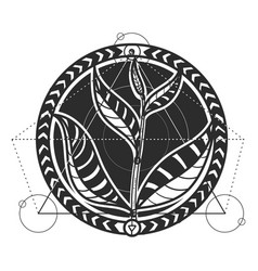 tea leaves abstract tattoo design vector image