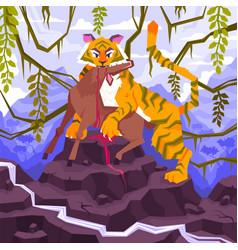 Tiger eats antelope composition vector