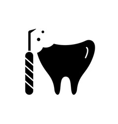 treatment of caries black icon sign on vector image