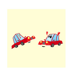 Two red car characters one dismayed and despaired vector