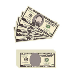 Usa banking currency cash symbol 50 dollars bill vector