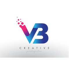 Vb letter design with creative dots bubble vector