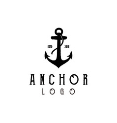 vintage hipster silhouette anchor logo design vector image