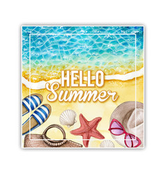 watercolor square summer banner vector image