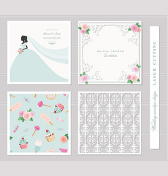 wedding templates set elegant cutout envelope vector image