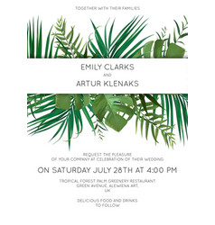 Wedding tropical leaves invitation card design vector