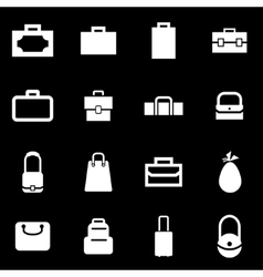 white bag icon set vector image