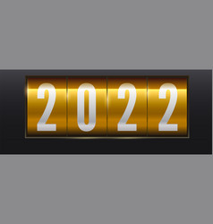 white numbers 2022 on golden background vector image