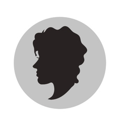 Woman head profile inside circle design vector
