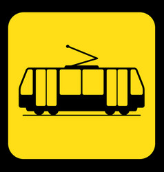 Yellow black information sign - tram streetcar vector