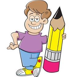 Cartoon boy holding a large pencil vector image vector image