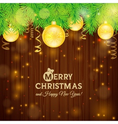 Christmas card on the background of wood vector image