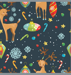 christmas holiday seamless pattern with reindeer vector image