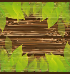 colorful background wooden texture with leaves vector image