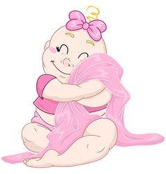 Cute Baby Girl Hugs Pink Blanket vector image