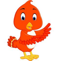 cute orange bird cartoon vector image