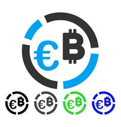 euro bitcoin diagram flat icon vector image