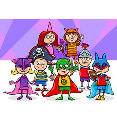 kids group at mask ball cartoon vector image vector image