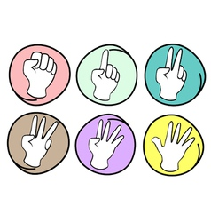Person Counting Hands 0 to 5 on Round Background vector image vector image