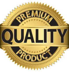 Premium quality product gold label vector image vector image