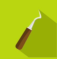 Probe dental tool icon flat style vector