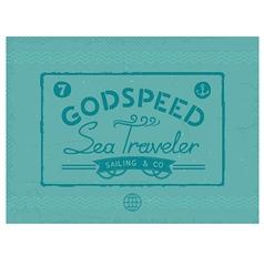 Retro sea traveler print vector