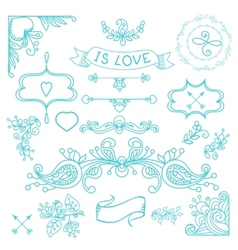 Vintage label set Hand-drawn doodles vector image vector image