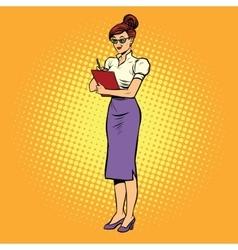 Young woman Secretary writes vector image